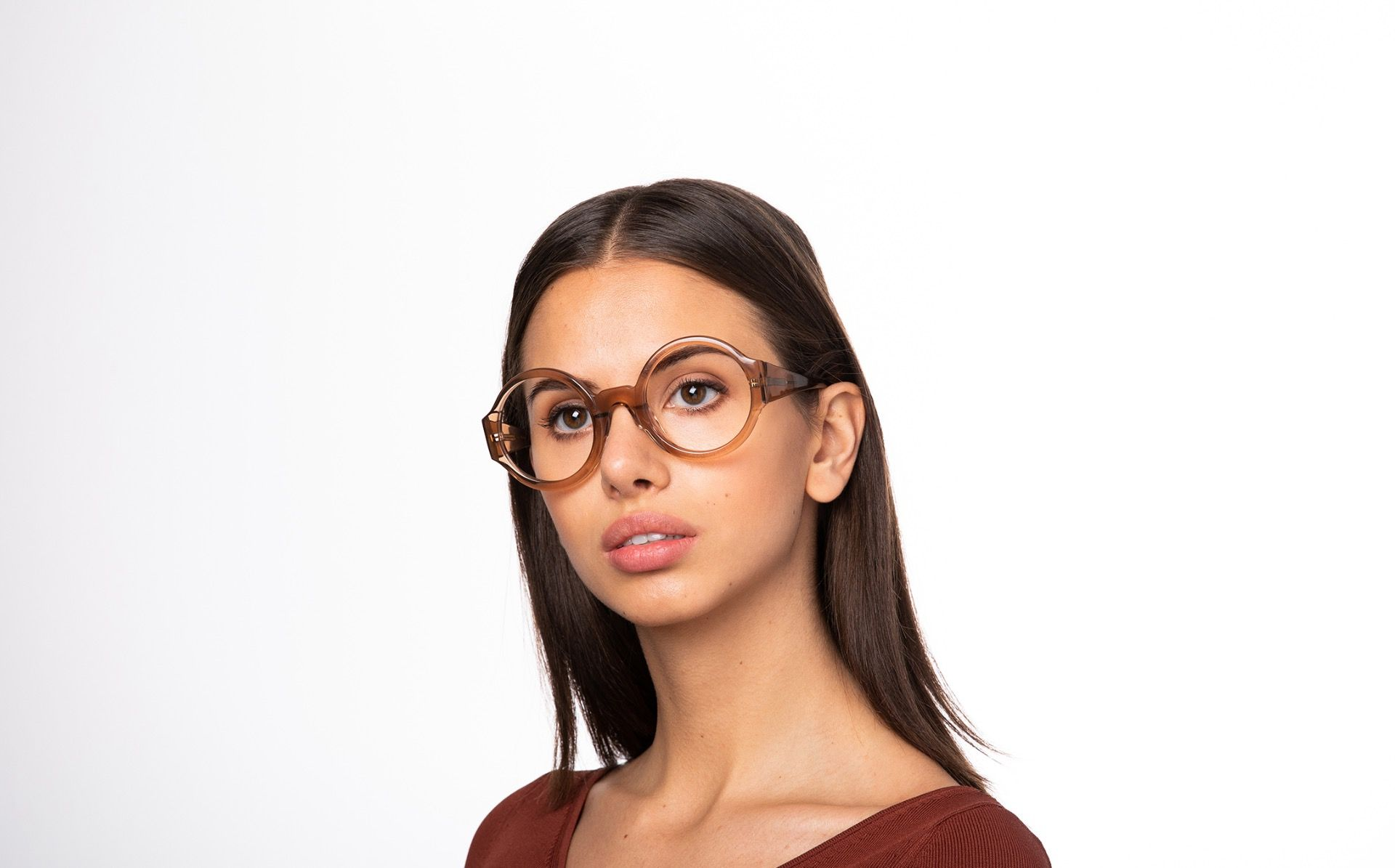 spica brown polette glasses model view 01