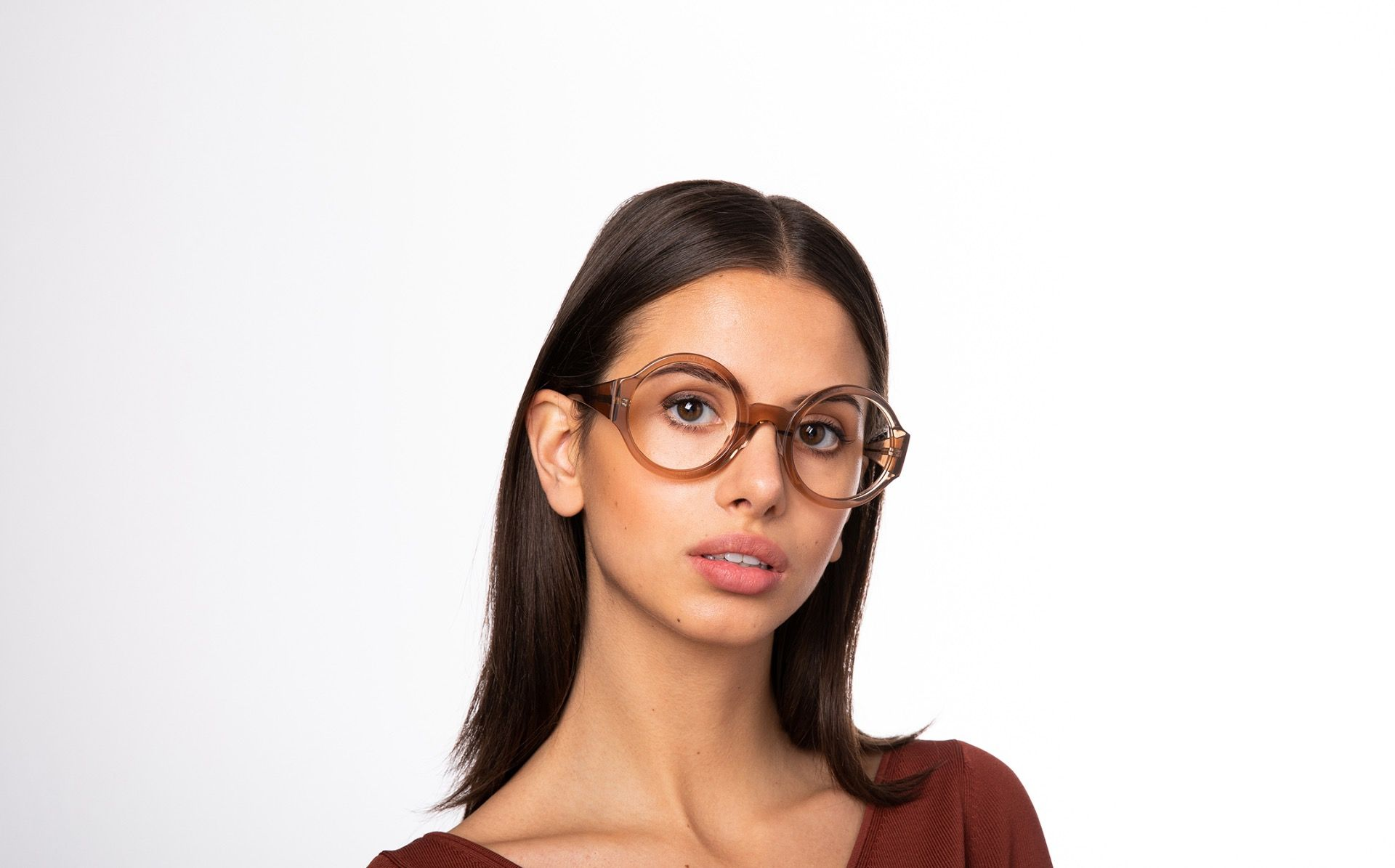 spica brown polette glasses model view 02