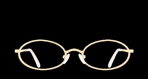 Lunettes ovales Brunat polette en métal doré vue de devant.