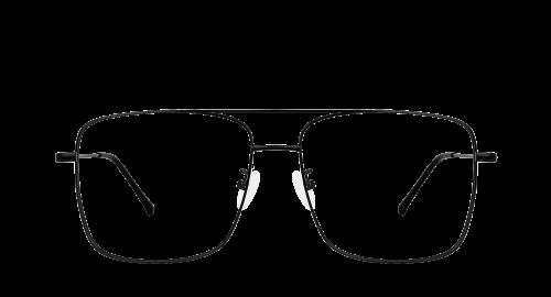 Lunettes rectangulaires Gordi Black polette en métal noir vue de devant.