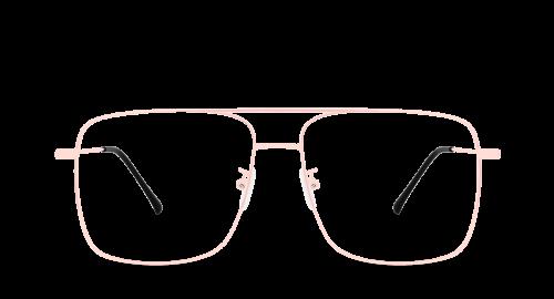 Lunettes rectangulaires Gordi Pink polette en métal rose vue de devant.