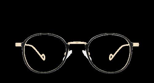 Lunettes ovales Jeeby Gold polette en métal noir vue de devant.