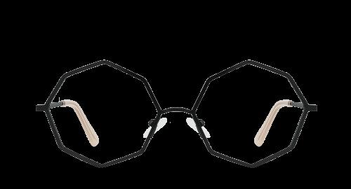 Lunettes ovales Prism Black polette en métal noir vue de devant.