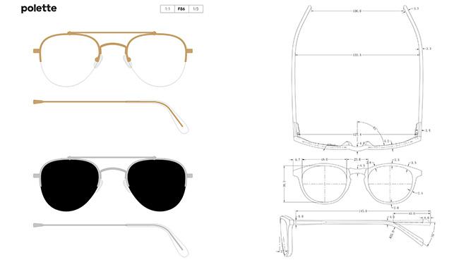 dessin technique de lunettes