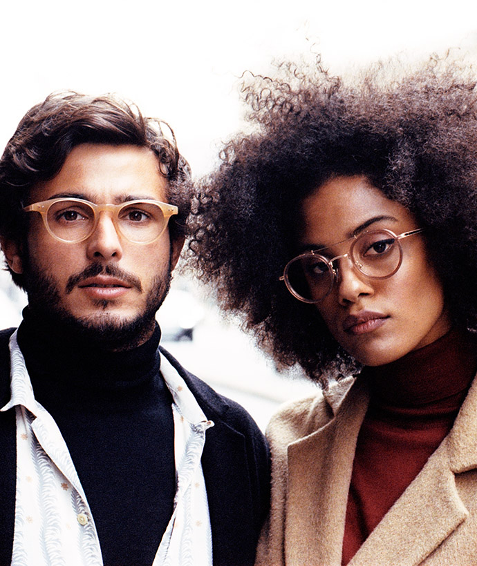 optical glasses metal and retro woman and man